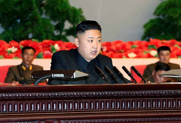 Declaration: North Korea's young leader Kim Jong Un pictured on Thursday this week. The rogue state announced today that it is at war with the South