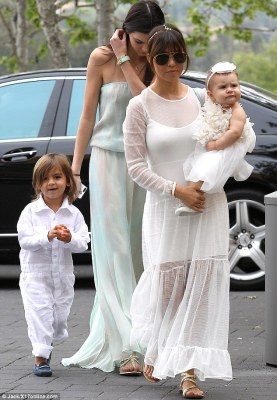 Easter Sunday best: Kourtney Kardashian dressed her children Mason and Penelope in crisp white ensembles for an Easter Sunday church service, while Kendall Jenner wore a pastel green maxi dress