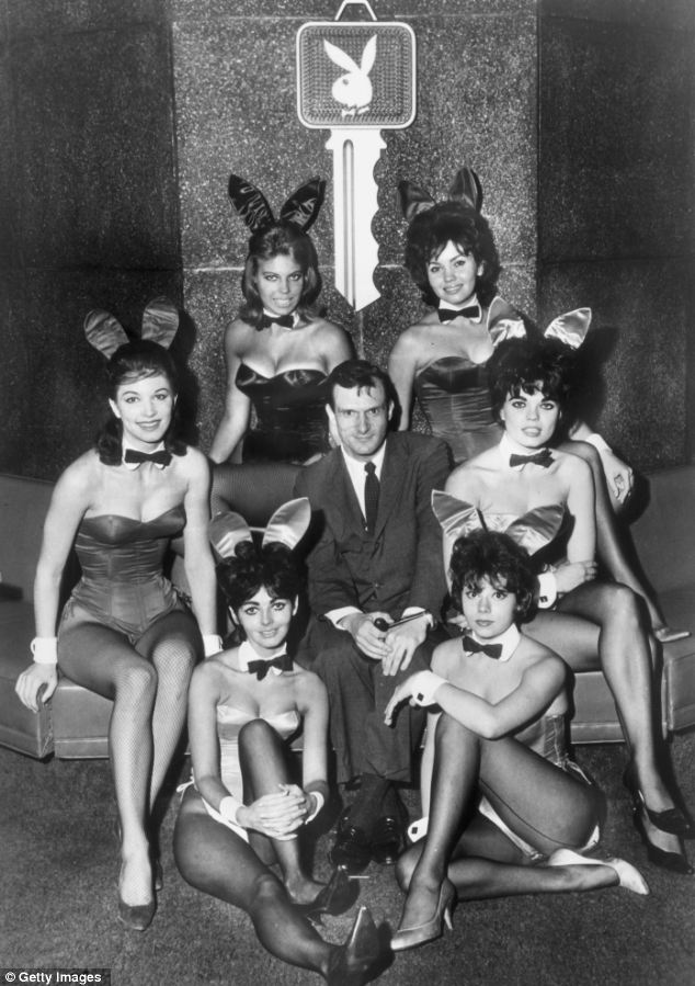 Playboy magazine's 1962 'Playmate of the Year,' Christa Speck Krofft, top left, has died of natural causes at the age of 70. Here she is with Hugh Hefner and five other Bunnies in the 1960s