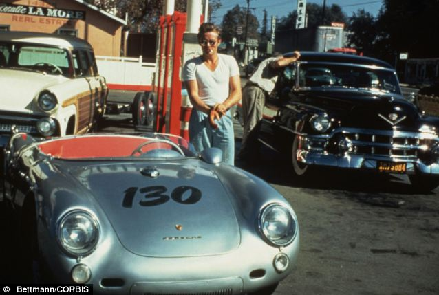 Icon: This photo of Dean taken at a petrol station with his Porsche is widely believed to be the last one taken of him before his death