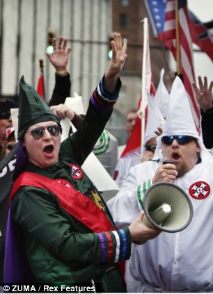 Ku Klux Klan members rallied in Memphis, Tennessee on March 30, 2013, protesting the renaming of three public parks
