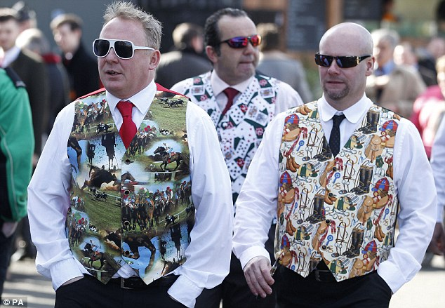 Snappy dressers: It wasn't just the women catching the eye as the crowd warmed up for the Grand National