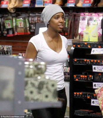 Lose my breath: Kelly browsed the beauty products available at Ricky's in New York looking low key and relaxed