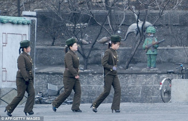 Frontline females: Women are believed to represent more than 10 per cent of the entire North Korean People's Army, according to visitors to the state