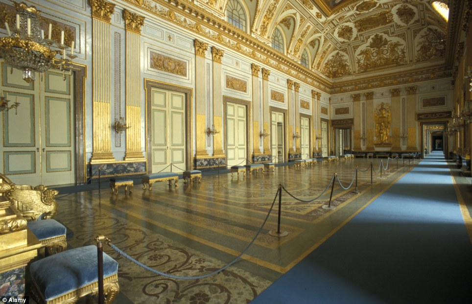 On-screen dazzle: The throne hall inside the palace which has been used as a set for several Hollywood blockbusters, including Star Wars and Mission Impossible