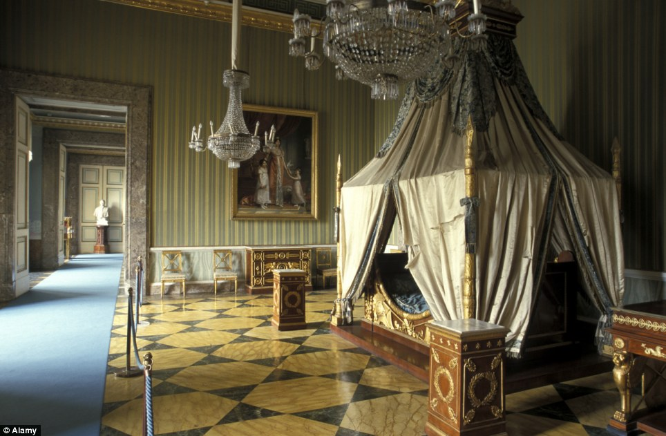 Suffering: One of the bedrooms in the palace, located in Caserta, about 20 miles north of Naples