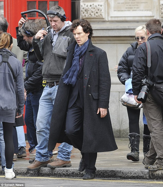 Busy filming: Benedict Cumberbatch rejoins his old pal Martin Freeman for the new series of Sherlock