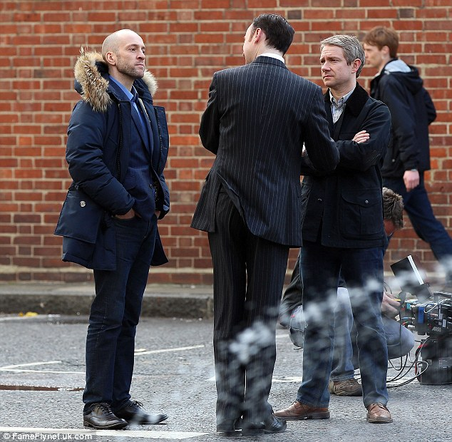 Here's what you have to do: Derren and Martin talk to a man in a pinstripe suit as they get to work filming Sherlock series 3