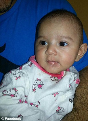Tragic: Five-month-old Angelina Rodriguez, pictured, is fighting for her life after the horrific incident on Thursday