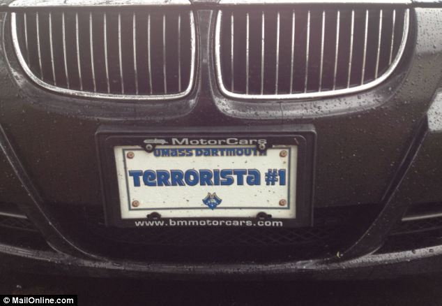 Arrest: License Plate Allegedly Belonging to a friend of Dzhokhar Tsarnaev's Car Reading 'Terrorista #1'