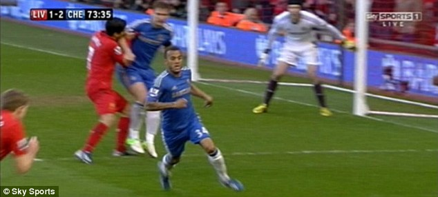 Out of nowhere: And Suarez had already handballed 10 minutes earlier