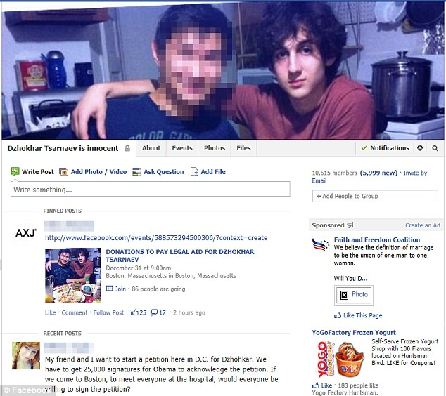The 'Dzhokhar Tsarnaev is innocent' Facebook page has quickly grown to include 11,250 members who offer a mixture of constructive support and conspiracy theories