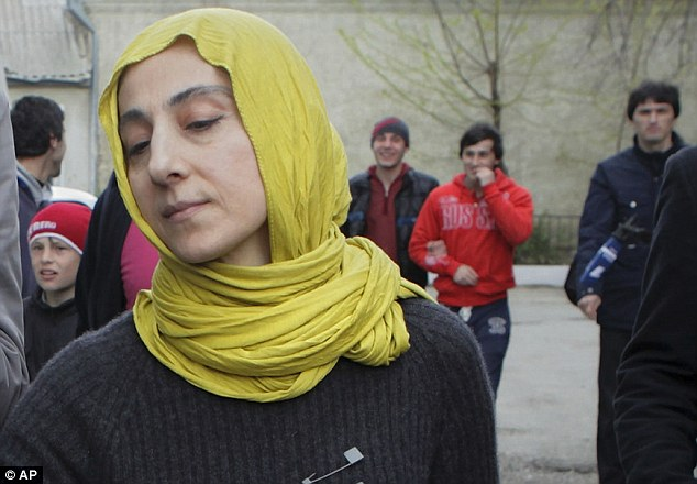 Grief: Zubeidat Tsarnaeva outside her home in the predominantly Muslim province in Russia's Caucasus