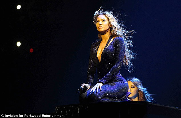 Stamp of approval: Beyonce appears in an official image released from her recent show in Belgrade