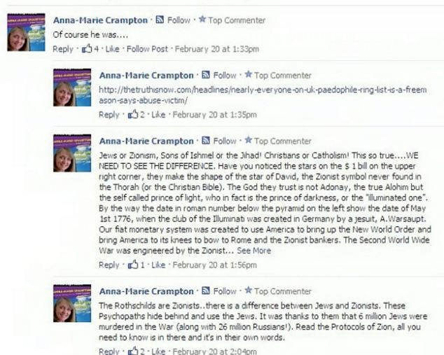 Anti-Zionist comments made from the Facebook account of Anna-Marie Crampton. She was later suspended.