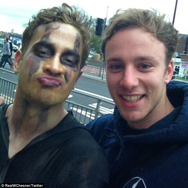 Injured: Danny Cipriani (left) was hospitalised on Wednesday night after being hit by a double-decker bus while in fancy dress on a pub crawl in Leeds