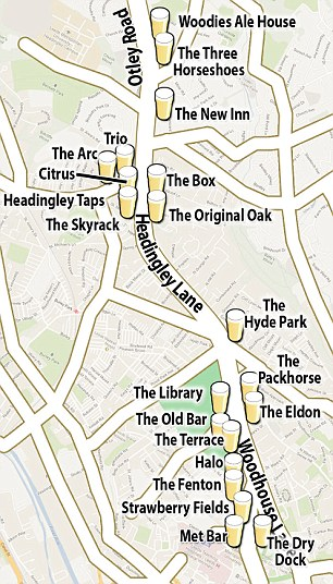 Pub crawl: Danny was on the popular Otley Pub Crawl which takes in 14 boozers in Leeds