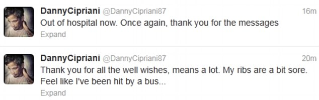Discharged: Danny told his fans he was feeling 'sore' but had been discharged from hospital on Thursday afternoon