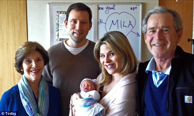 Happy famliy: Former first daughter Jenna Bush showed off her newborn daughter Mila Hager alongside husband Henry Hager and parents George W and Laura Bush.