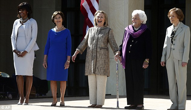 Inspirational: Hillary Clinton today joined First lady Michelle Obama, Laura Bush, Barbara Bush ad Rosalynn Carter; at the dedication of the George W. Bush presidential library on the campus of Southern Methodist University in Dallas,Texas.