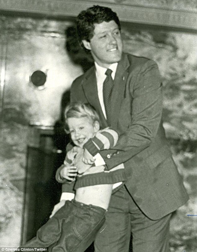 Me and my dad: Chelsea Clinton one of her favouite pictures of her as a little girl with her father to celebrate his Twitter debut.