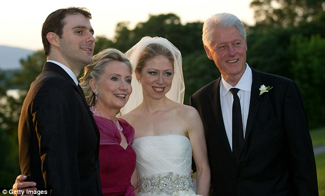 Happy couple: Chelsea Clinton and Marc Mezvinsky at their wedding in Rhinebeck, New York, in July 2010 - accompanied by President Bill Clinton and Hillary Clinton.