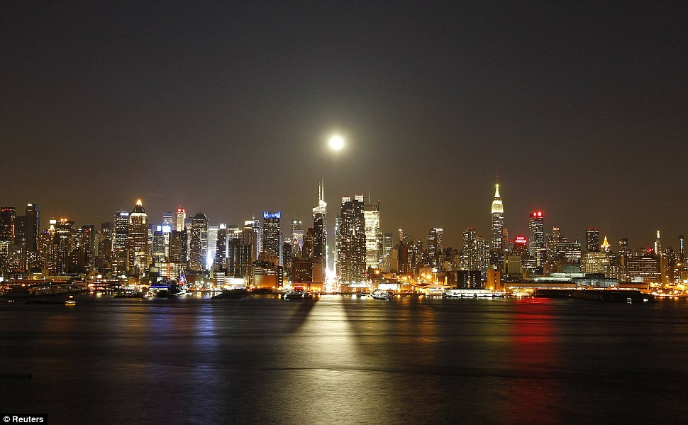 Red Moon Rising The Moon And New York City Daily Mail