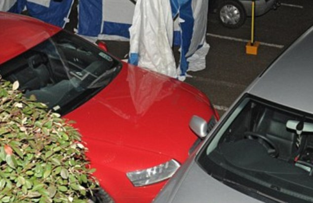 Shot: A bullet hole in the windscreen of a red Audi that police opened fire at in Culcheth, Cheshire