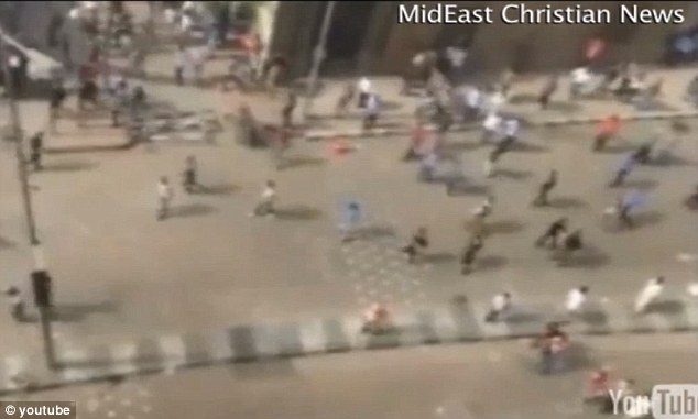 New footage has emerged of men shooting guns, wielding machetes and hurling stones laid siege to the Coptic cathedral in Cairo earlier this month