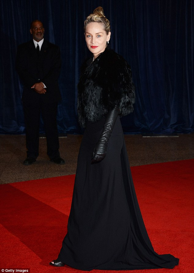Scary: Sharon Stone arrived to the White House Correspondents' Dinner in a witch-like outfit