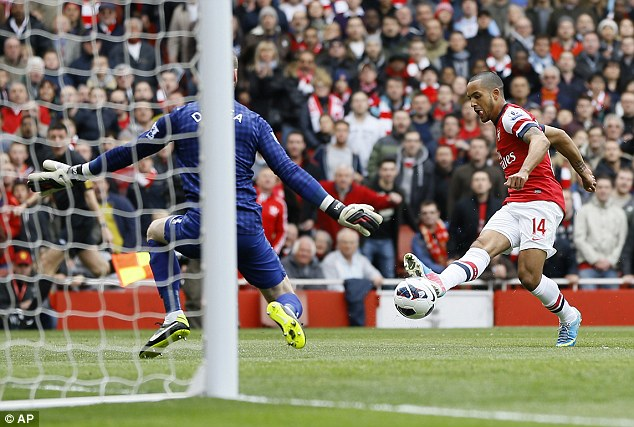 Clinical: Theo Walcott put Arsenal a goal to the good after just two minutes