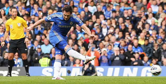 From the spot: Lampard's penalty, his 201st goal for the club, doubled Chelsea's lead