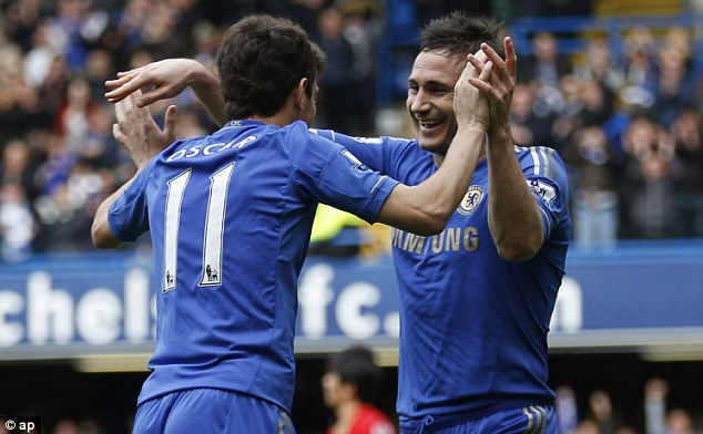 The goalscorers: Oscar and Lampard celebrate together