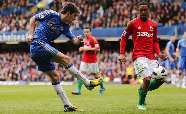 The opener: The talented Oscar put Chelsea ahead in the 43rd minute