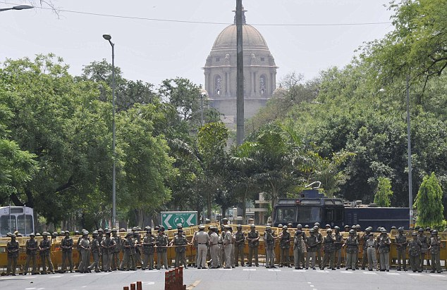 Security forces lined up during a protest earlier this month against the rising number of rape cases in Delhi