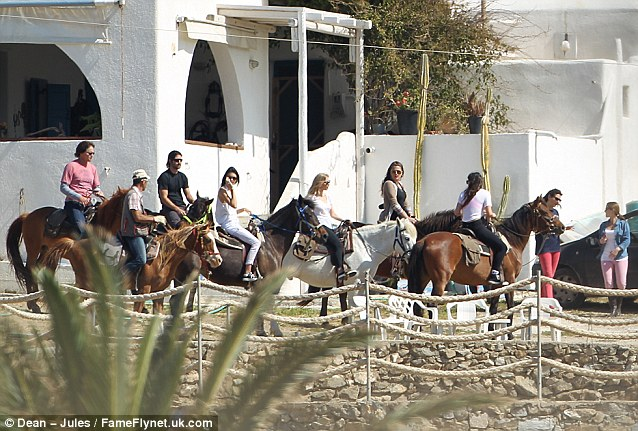 Follow the leader: Family including Bruce and Kendall Jenner joined her on the trek
