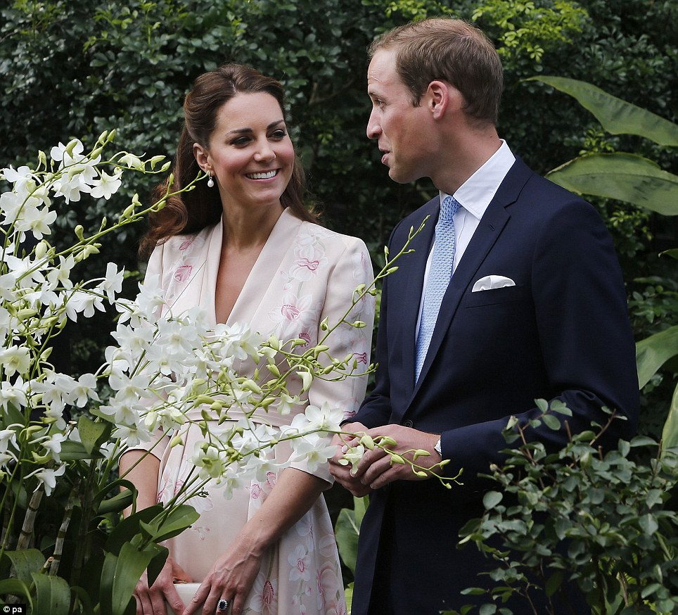 In honour: The Duke and Duchess of Cambridge look at an orchid named after Prince William's mother Diana, Princess of Wales during their first engagement in Singapore in September 2012