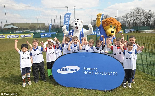 Jumping for joy: The video is to promote club sponsor Samsung's Free Kicks for Kids scheme