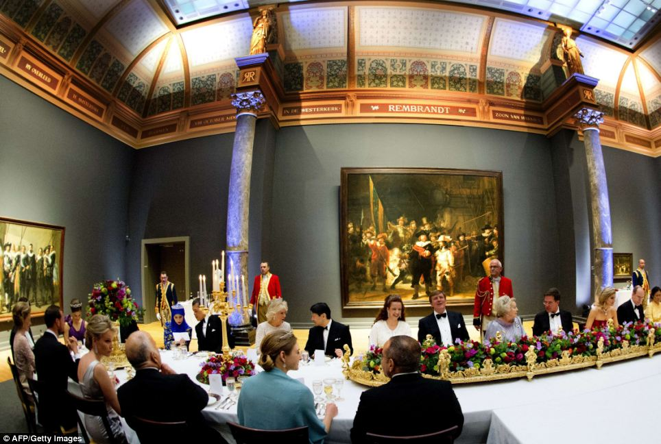 Fit for a King and Queen: Queen Beatrix of the Netherlands, centre, hosts a dinner on April 29, 2013 at the National Museum