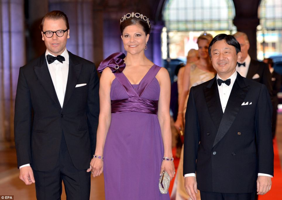 Prince Daniel of Sweden, left, Crown Princess Victoria of Sweden, centre, and Crown Prince Naruhito of Japan arrive