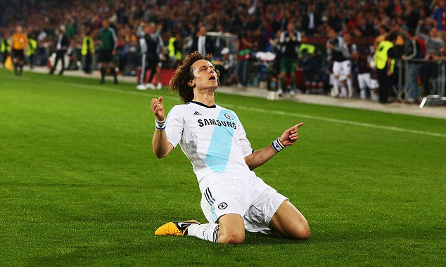 Job ahead: Luiz's last minute winner against Basle gives Chelsea the advantage heading into Thursday's Europa League semi-final second leg