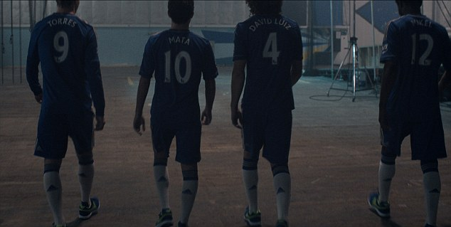 Blue order: Torres, Mata, Luiz and Mikel Obi walk away after completing their challenge