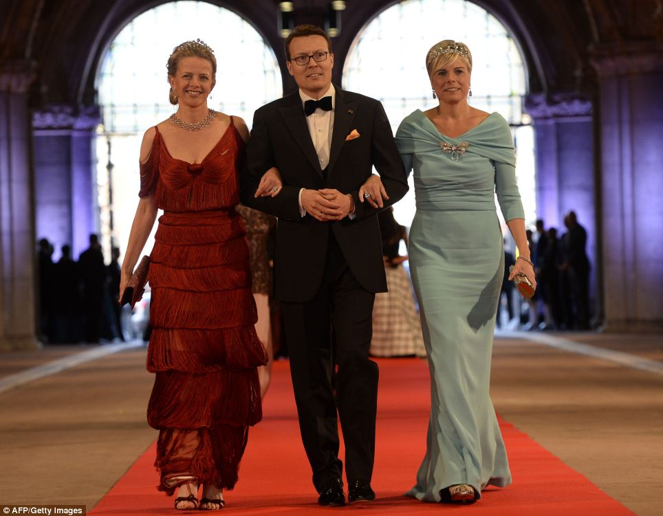 Prince Constantijn of the Netherlands, his wife Princess Laurentien, right, and Princess Mabel of Orange-Nassau
