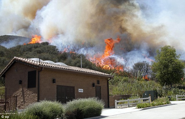 Smoked out: Authorities have ordered evacuations of a neighborhood and a university about 50 miles west of Los Angeles where a wildfire is raging close to homes