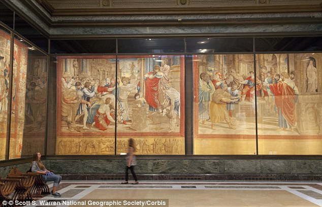 Hidden: The painting has been hanging in the Vatican's Borgia Apartments for five centuries and the scene was only just discovered because it had been buried under hundreds of years of dust and soot