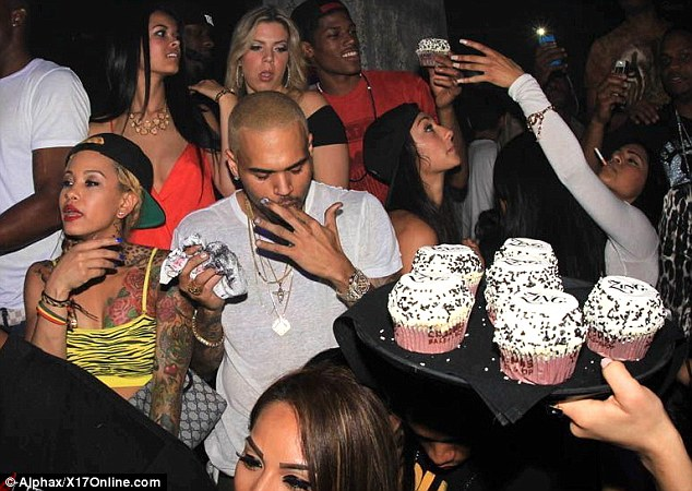 Yum! The musician indulged in savory cupcakes at his bash