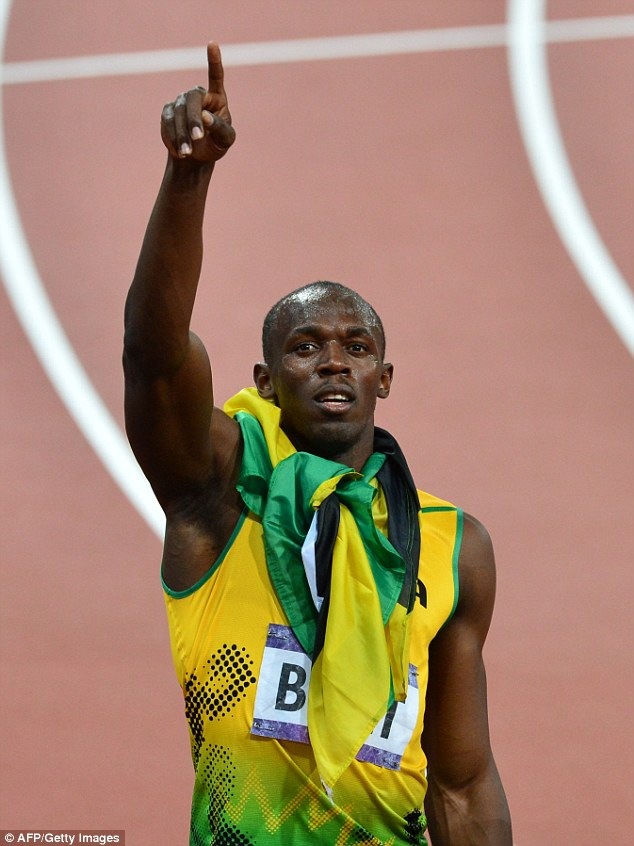 Similar gesture: Jamaica's Usain Bolt raises his hand to God after winning the men's 200m final at the athletics event during the London 2012 Olympic Games on August 9, 2012 in London