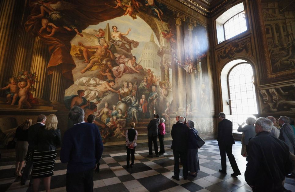Historic: The West Wall itself shows Britain¿s new royal family from Hanover in Germany. George I is surrounded by his children and grandchildren and the dome of Wren¿s St Paul¿s Cathedral looms large in the background