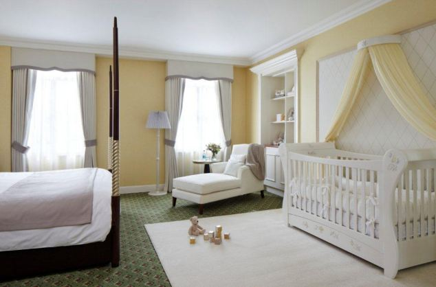Dream room: The cot is adorned with a stylised letter 'C' and a 'regal coronet', a crest made up of the hotel's initials
