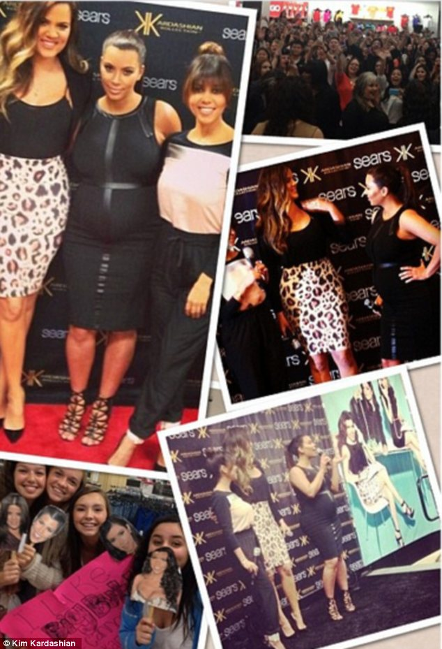 Making memories: Kim posted an Instagram collage of the stars' day out promoting their fashion line
